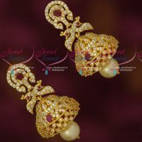 Gold Plated Jhumka Earrings AD Ruby White Imitation Collections Online Sale