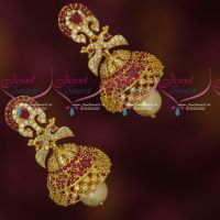 Party Wear Imitation Jewellery AD Sparkling Stones Jhumka Earrings