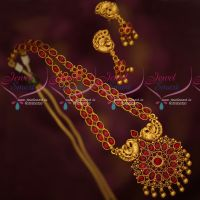 South Indian Kemp Red Oval Stones Traditional Design Necklace Set Online
