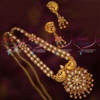 Oval Pearls Double Strand South Indian Traditional Jewellery Set Online