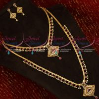 American Diamond Stones South Indian Gold Covering Short Long Bridal Jewellery Set