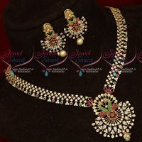 Gold Jewellery Finish Imitation AD Necklace Set Flexible New Collections Online