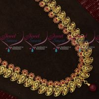 Ruby Stones Antique Intricately Designed Mango Traditional Gold Design Haram