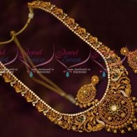 Bridal Jewellery Matte Gold Plated Haram Latest AD Stones Floral Peacock Design Online