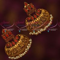 Coral Stones Stylish Half Jhumka Pearl Drops Broad Fancy Design Collections