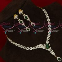 AD White Emerald Gold Silver Plated Diamond Finish Necklace Set Online