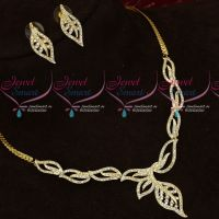 Leaf Design Stylish Diamond Finish Alloy Metal Low Price Necklace Set