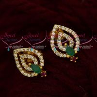 Daily Wear AD Jewelry Ear Studs Multi Colour Light Weight Designs Online