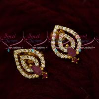 Daily Wear AD Jewelry Ear Studs Ruby White Light Weight Designs Online
