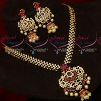 Ruby White Semi Precious Stones Diamond Finish Artificial Necklace Set