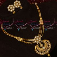 Multi Strand Beaded Pearl Jewellery Set Short Necklace Fancy Designs Online
