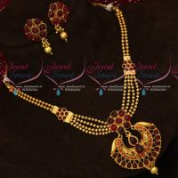 Red Kemp Stones Pendant Beads Mala Multi Layer Short Necklace Gold Plated