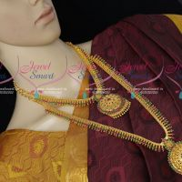 South Indian Short Long Matching Combo Gold Covering Bridal Jewellery Set