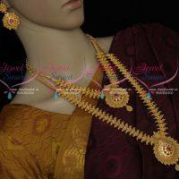 Leaf Design Gold Plated Short Long Bridal Matching Jewllery Set South Indian Collections