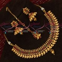 Gheru Gold Plated Kemp Jewellery Jhumka Maang Tikka Set Low Price Traditional