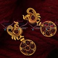 Peacock Design Kemp Stones Stylish Design Earrings Antique Jewellery