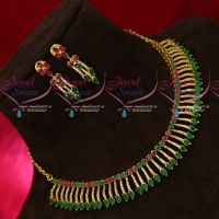 Kerala Style Sparkling AD Stones Latest Gold Plated Fancy Design Jewellery Set Online