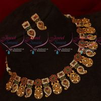 Low Price Antique Matte Antique Ruby Emerald Mango Traditional Necklace Set