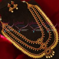 Broad Coin 3 Layer Grand Bridal Wedding Haram Necklace Traditional Temple Collections