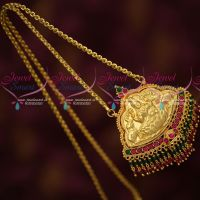 Temple Nagas Handmade Pendant Crystal Bead Drops Gold Covering Chain Traditional Design Online