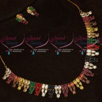 Gold Plated Navratna Semi Precious Stones Necklace Set Online