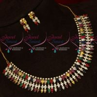 Traditional Design Gold Plated Navratna Semi Precious Stones Necklace Set Online