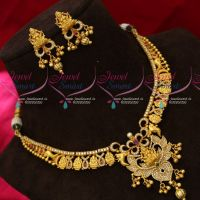 One Gram Gold Temple AD Stones Traditonal Jewellery Real Look Casting Design Necklace