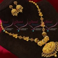 Beautiful Real Look Nagas One Gram Gold Traditional Necklace Set South Indian Jewellery