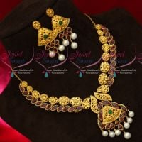 Real Kemp Stones One Gram Gold Finish Real Look Yellow Plated Necklace Set
