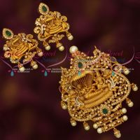 Padmanabhaswamy Temple Jewellery Broad Pendant Earrings Set Matte AD Traditional Collections