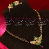 3D Peacock Design Ruby Emerald Gold Plated Necklace Set Latest Imitation Jewellery