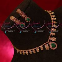 Ruby Emerald Semi Precious Stones Gold Design Jewellery Set Indian Traditional Necklace