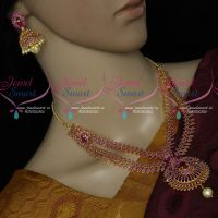 Semi Precious Ruby Stones Latest Imitation Double Layer Imitation Jewellery Set
