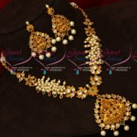 Temple Jewellery Pearl AD Handsetting Stone Mala Traditional Designs Online