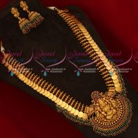 South Indian Temple Jewellery Kasumala Coin Haram Broad Gheru Reddish Gold Plated