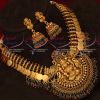 Red Green Crystal Drops Gold Design Gheru Colour Kasumala Necklace Online