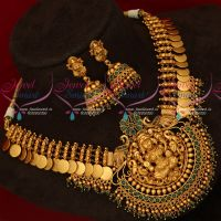 Green Stones Crystal Drops Gold Design Gheru Colour Kasumala Necklace Online