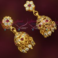 American Diamond Stones Thick Metal Traditional Gold Design Jhumka Earrings South Screw