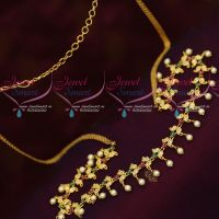 Delicate Mango Design Flexible Hip Chains Latest Fashion Jewellery AD Stones