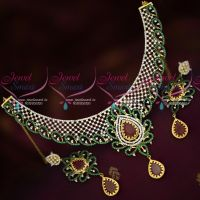Bridal CZ Diamond Finish Jewellery Ruby Emerald White Black Enamel Work Necklace