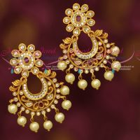 Matte Gold Plated AD Chand Bali Earrings Online