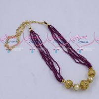 Multi Strand 2 MM High Quality Dark Pink Crystals Gold Plated Floral Balls Mala Hand Beaded Jewellery