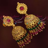 Double Layer Crystal Hangings Handmade South Screw Jhumka Earrings