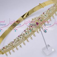 Latest Gold Plated Bridal Low Price Jewellery Traditional Design AD Oddiyanam