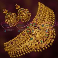 Bridal Temple Jewellery Real Kemp AD Ruby Emerald Choker Necklace Traditional Designs