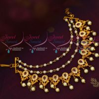 Ruby Stones Earchain Mattal Intricately Designed Hair Accessory