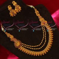 Double Design Mugappu Temple Jewellery Matte Multi Layer Imitation Matte Finish Jewellery
