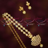 Fancy Pearl Chain Attiga AD White Stones Pendant Screw Lock South Indian Gold Covering Jewellery Online