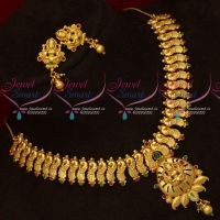 Peacock Design One Gram Gold Plated South Indian Traditional Handmade Necklace Screw Lock Studs