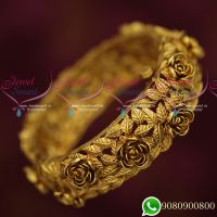 Broad Heavy Floral Leaf Design Antique Single Piece Bangles Online